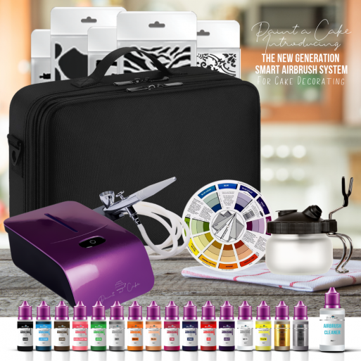 Cake Decorating Kit For Airbrushing Food Airbrush With Compressor 16 Colours And Accessories